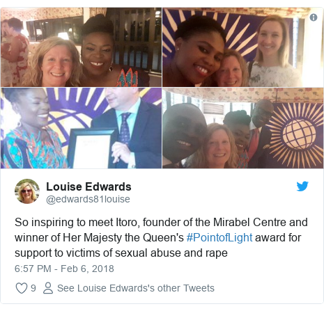 Twitter post by @edwards81louise: So inspiring to meet Itoro, founder of the Mirabel Centre and winner of Her Majesty the Queen's #PointofLight award for support to victims of sexual abuse and rape