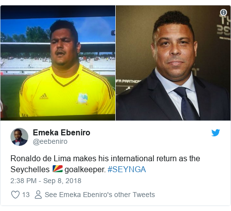 Twitter post by @eebeniro: Ronaldo de Lima makes his international return as the Seychelles 🇸🇨 goalkeeper. #SEYNGA