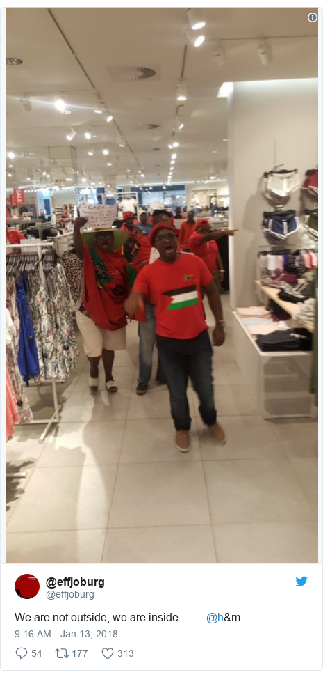 Twitter post by @effjoburg: We are not outside, we are inside .........@h&m