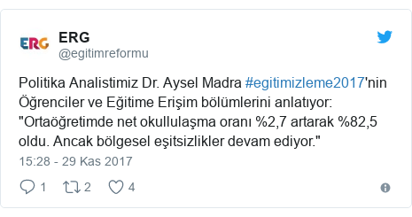 """@egitimreformu tarafından yapılan Twitter paylaşımı: Politika Analistimiz Dr. Aysel Madra #egitimizleme2017'nin Öğrenciler ve Eğitime Erişim bölümlerini anlatıyor  """"Ortaöğretimde net okullulaşma oranı %2,7 artarak %82,5 oldu. Ancak bölgesel eşitsizlikler devam ediyor."""""""
