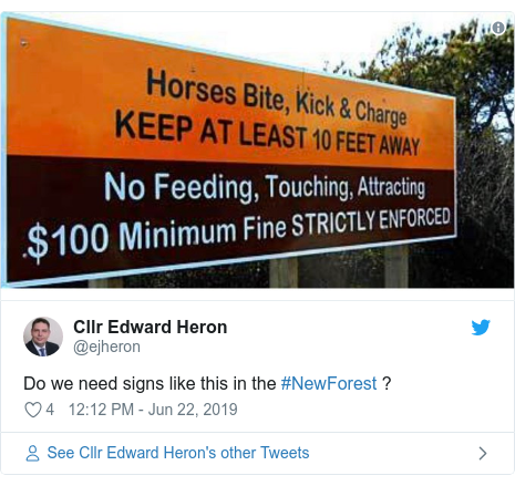 Twitter post by @ejheron: Do we need signs like this in the #NewForest ?