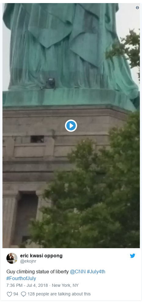Twitter post by @ekojnr: Guy climbing statue of liberty @CNN #July4th #FourthofJuly