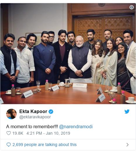 Twitter post by @ektaravikapoor: A moment to remember!!! @narendramodi