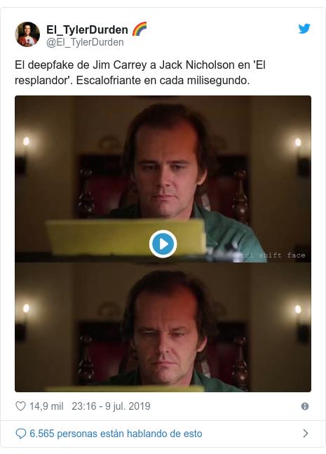 Publicación de Twitter por @El_TylerDurden: El deepfake de Jim Carrey a Jack Nicholson en 'El resplandor'. Escalofriante en cada milisegundo.