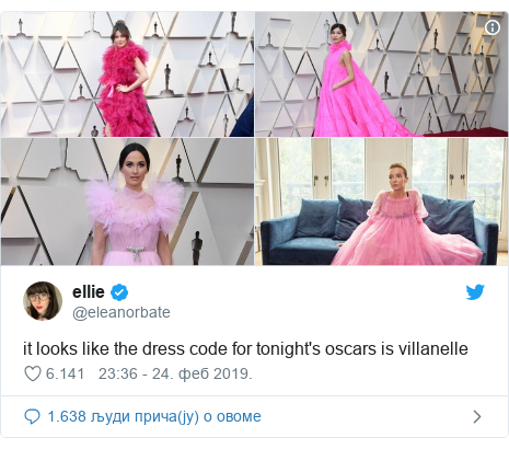 Twitter post by @eleanorbate: it looks like the dress code for tonight's oscars is villanelle