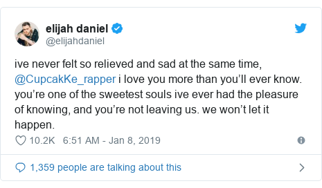 Twitter post by @elijahdaniel: ive never felt so relieved and sad at the same time, @CupcakKe_rapper i love you more than you'll ever know. you're one of the sweetest souls ive ever had the pleasure of knowing, and you're not leaving us. we won't let it happen.