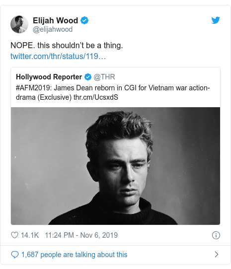 Twitter post by @elijahwood: NOPE. this shouldn't be a thing.