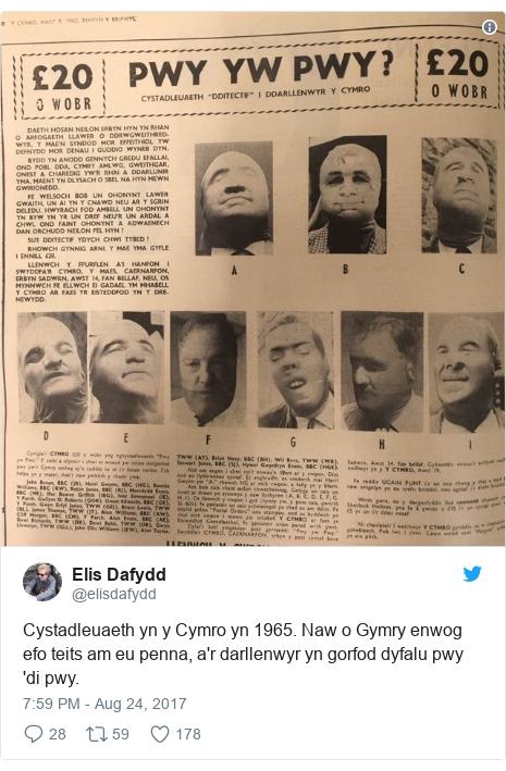 Neges Twitter gan @elisdafydd: Cystadleuaeth yn y Cymro yn 1965. Naw o Gymry enwog efo teits am eu penna, a'r darllenwyr yn gorfod dyfalu pwy 'di pwy.