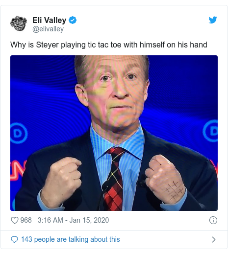 Twitter post by @elivalley: Why is Steyer playing tic tac toe with himself on his hand