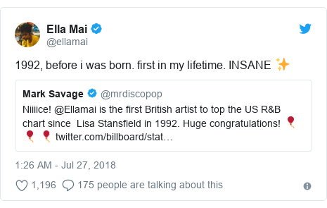 Twitter post by @ellamai: 1992, before i was born. first in my lifetime. INSANE ✨