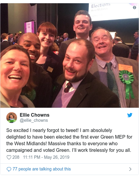 Twitter post by @ellie_chowns: So excited I nearly forgot to tweet! I am absolutely delighted to have been elected the first ever Green MEP for the West Midlands! Massive thanks to everyone who campaigned and voted Green. I'll work tirelessly for you all.