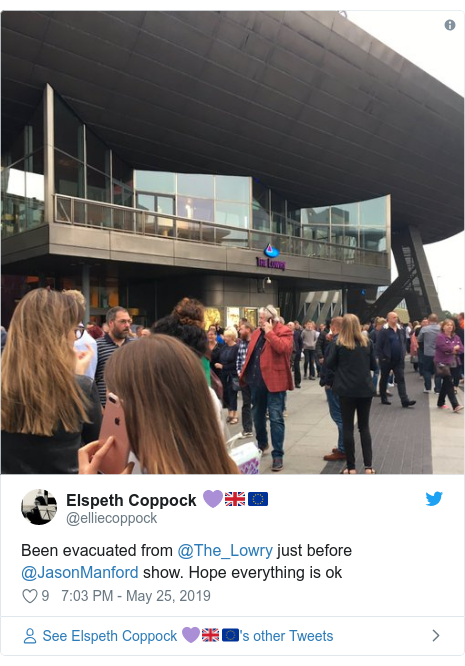 Twitter post by @elliecoppock: Been evacuated from @The_Lowry just before @JasonManford show. Hope everything is ok