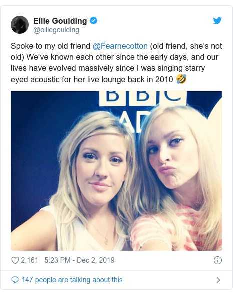 Twitter post by @elliegoulding: Spoke to my old friend @Fearnecotton (old friend, she's not old) We've known each other since the early days, and our lives have evolved massively since I was singing starry eyed acoustic for her live lounge back in 2010 🤣
