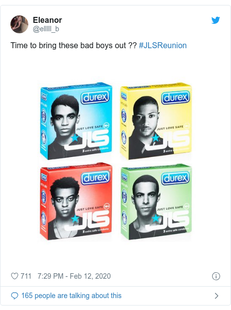 Twitter post by @elllll_b: Time to bring these bad boys out ?? #JLSReunion