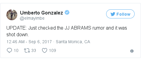 Twitter post by @elmayimbe: UPDATE  Just checked the JJ ABRAMS rumor and it was shot down.