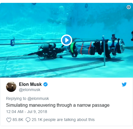 Twitter post by @elonmusk: Simulating maneuvering through a narrow passage