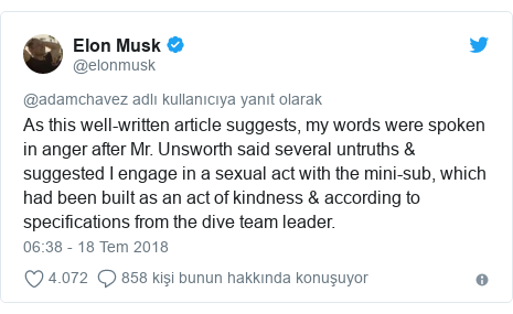 @elonmusk tarafından yapılan Twitter paylaşımı: As this well-written article suggests, my words were spoken in anger after Mr. Unsworth said several untruths & suggested I engage in a sexual act with the mini-sub, which had been built as an act of kindness & according to specifications from the dive team leader.