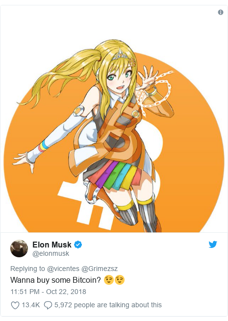 Twitter post by @elonmusk: Wanna buy some Bitcoin? 😉😉
