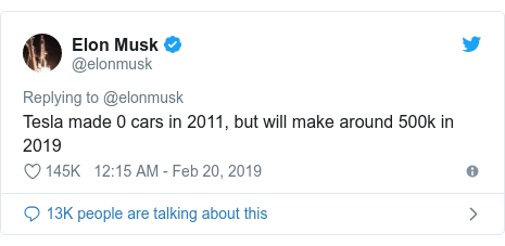 Twitter post by @elonmusk: Tesla made 0 cars in 2011, but will make around 500k in 2019