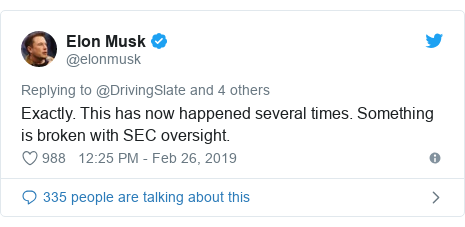 Twitter post by @elonmusk: Exactly. This has now happened several times. Something is broken with SEC oversight.