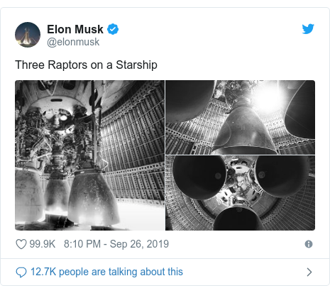 Twitter post by @elonmusk: Three Raptors on a Starship