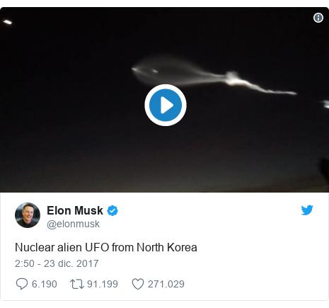 Publicación de Twitter por @elonmusk: Nuclear alien UFO from North Korea