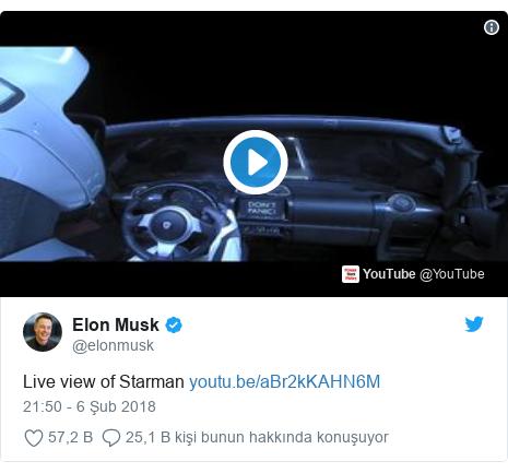 @elonmusk tarafından yapılan Twitter paylaşımı: Live view of Starman