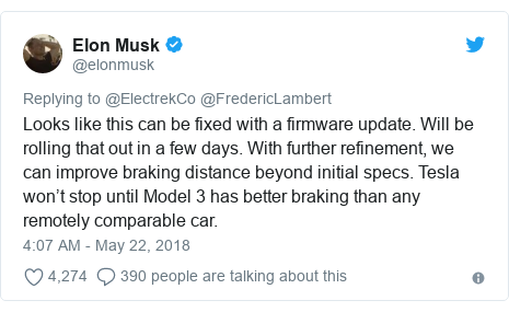 Twitter post by @elonmusk: Looks like this can be fixed with a firmware update. Will be rolling that out in a few days. With further refinement, we can improve braking distance beyond initial specs. Tesla won't stop until Model 3 has better braking than any remotely comparable car.