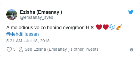 Twitter post by @emaanay_syed: A melodious voice behind evergreen Hits ❤❤🎶🎻#MehdiHassan