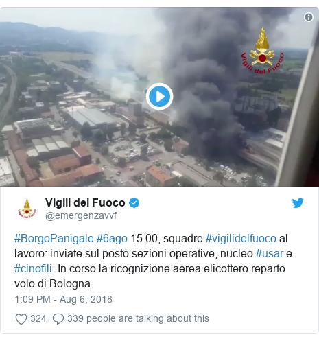Twitter post by @emergenzavvf: #BorgoPanigale #6ago 15.00, squadre #vigilidelfuoco al lavoro  inviate sul posto sezioni operative, nucleo #usar e #cinofili. In corso la ricognizione aerea elicottero reparto volo di Bologna