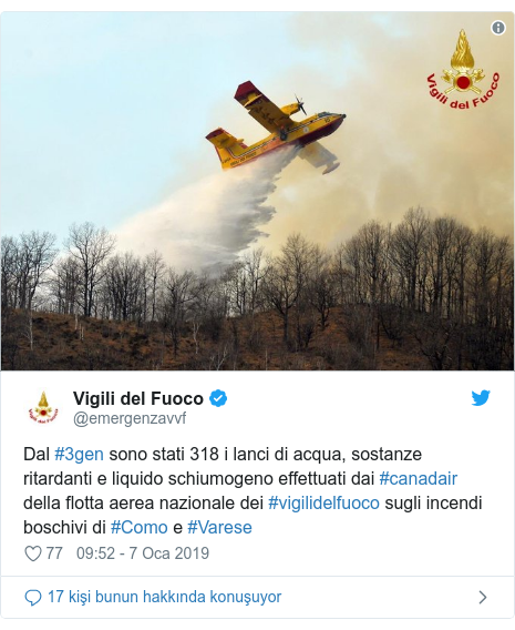 @emergenzavvf tarafından yapılan Twitter paylaşımı: Dal #3gen sono stati 318 i lanci di acqua, sostanze ritardanti e liquido schiumogeno effettuati dai #canadair della flotta aerea nazionale dei #vigilidelfuoco sugli incendi boschivi di #Como e #Varese
