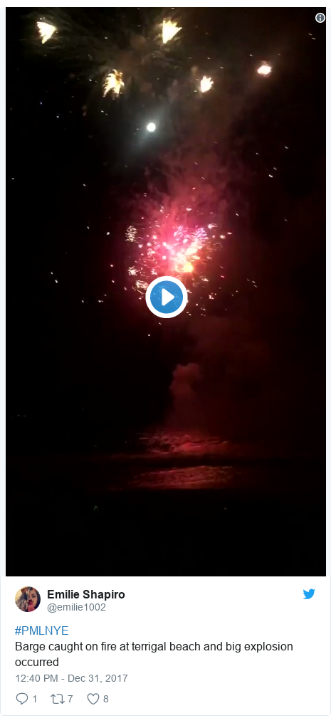 Twitter post by @emilie1002: #PMLNYE Barge caught on fire at terrigal beach and big explosion occurred