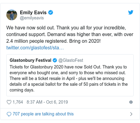 Twitter post by @emilyeavis: We have now sold out. Thank you all for your incredible, continued support. Demand was higher than ever, with over 2.4 million people registered. Bring on 2020!