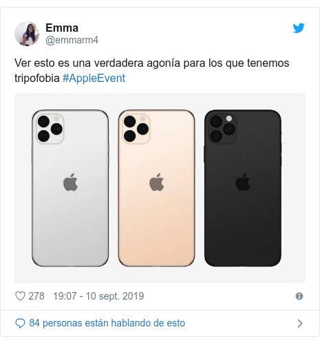 Publicación de Twitter por @emmarm4: Ver esto es una verdadera agonía para los que tenemos tripofobia #AppleEvent