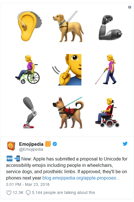 Twitter post by @Emojipedia: 🆕 📲 New  Apple has submitted a proposal to Unicode for accessibility emojis including people in wheelchairs, service dogs, and prosthetic limbs. If approved, they'll be on phones next year