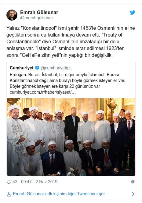 """@emrahgulsunar tarafından yapılan Twitter paylaşımı: Yalnız """"Konstantinopol"""" ismi şehir 1453'te Osmanlı'nın eline geçtikten sonra da kullanılmaya devam etti. """"Treaty of Constantinople"""" diye Osmanlı'nın imzaladığı bir dolu anlaşma var. """"İstanbul"""" isminde ısrar edilmesi 1923'ten sonra """"CeHaPe zihniyeti""""nin yaptığı bir değişiklik."""