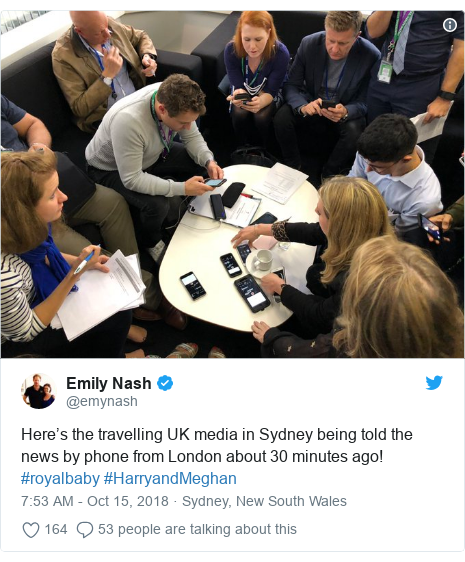 Twitter post by @emynash: Here's the travelling UK media in Sydney being told the news by phone from London about 30 minutes ago! #royalbaby #HarryandMeghan