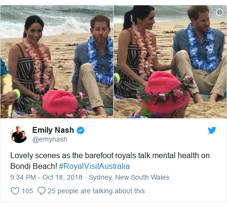 Twitter post by @emynash: Lovely scenes as the barefoot royals talk mental health on Bondi Beach! #RoyalVisitAustralia