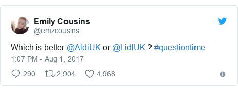Twitter post by @emzcousins: Which is better @AldiUK or @LidlUK ? #questiontime