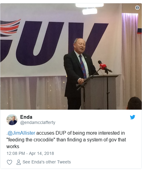 "Twitter post by @endamcclafferty: .@JimAllister accuses DUP of being more interested in ""feeding the crocodile"" than finding a system of gov that works"