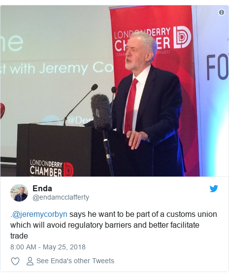 Twitter post by @endamcclafferty: .@jeremycorbyn says he want to be part of a customs union which will avoid regulatory barriers and better facilitate trade