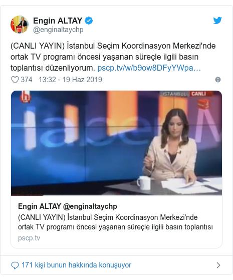 @enginaltaychp tarafından yapılan Twitter paylaşımı: (CANLI YAYIN) İstanbul Seçim Koordinasyon Merkezi'nde ortak TV programı öncesi yaşanan süreçle ilgili basın toplantısı düzenliyorum.