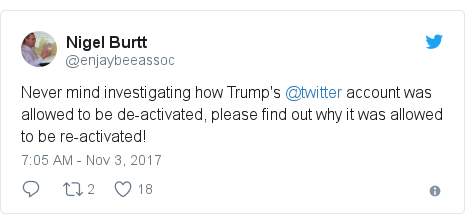 Twitter post by @enjaybeeassoc: Never mind investigating how Trump's @twitter account was allowed to be de-activated, please find out why it was allowed to be re-activated!