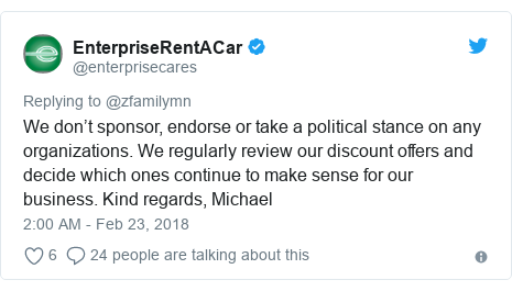 Twitter post by @enterprisecares: We don't sponsor, endorse or take a political stance on any organizations. We regularly review our discount offers and decide which ones continue to make sense for our business. Kind regards, Michael