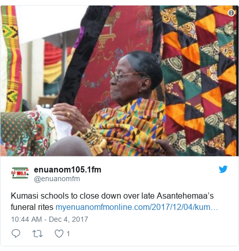 Twitter post by @enuanomfm: Kumasi schools to close down over late Asantehemaa's funeral rites