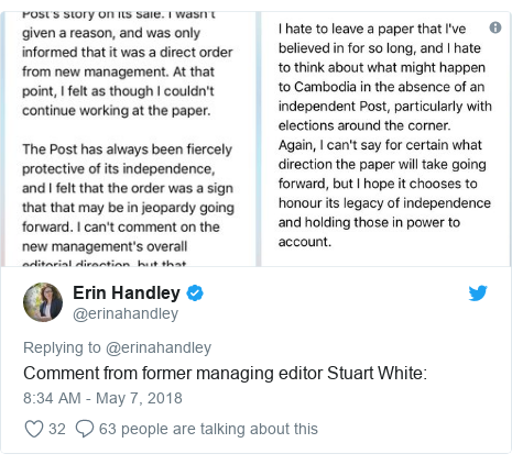 Twitter post by @erinahandley: Comment from former managing editor Stuart White