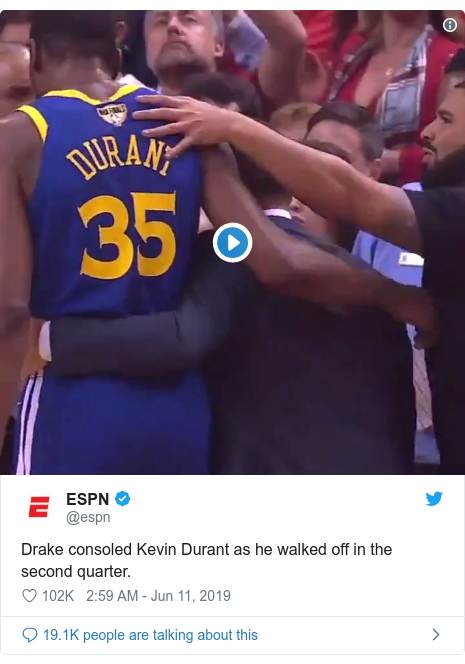Twitter post by @espn: Drake consoled Kevin Durant as he walked off in the second quarter.