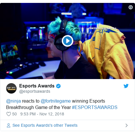 Twitter post by @esportsawards: @ninja reacts to @fortnitegame winning Esports Breakthrough Game of the Year #ESPORTSAWARDS