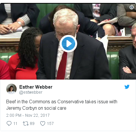 Twitter post by @estwebber: Beef in the Commons as Conservative takes issue with Jeremy Corbyn on social care
