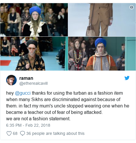 Twitter post by @etherealcavill: hey @gucci thanks for using the turban as a fashion item when many Sikhs are discriminated against because of them. in fact my mum's uncle stopped wearing one when he became a teacher out of fear of being attacked.we are not a fashion statement.